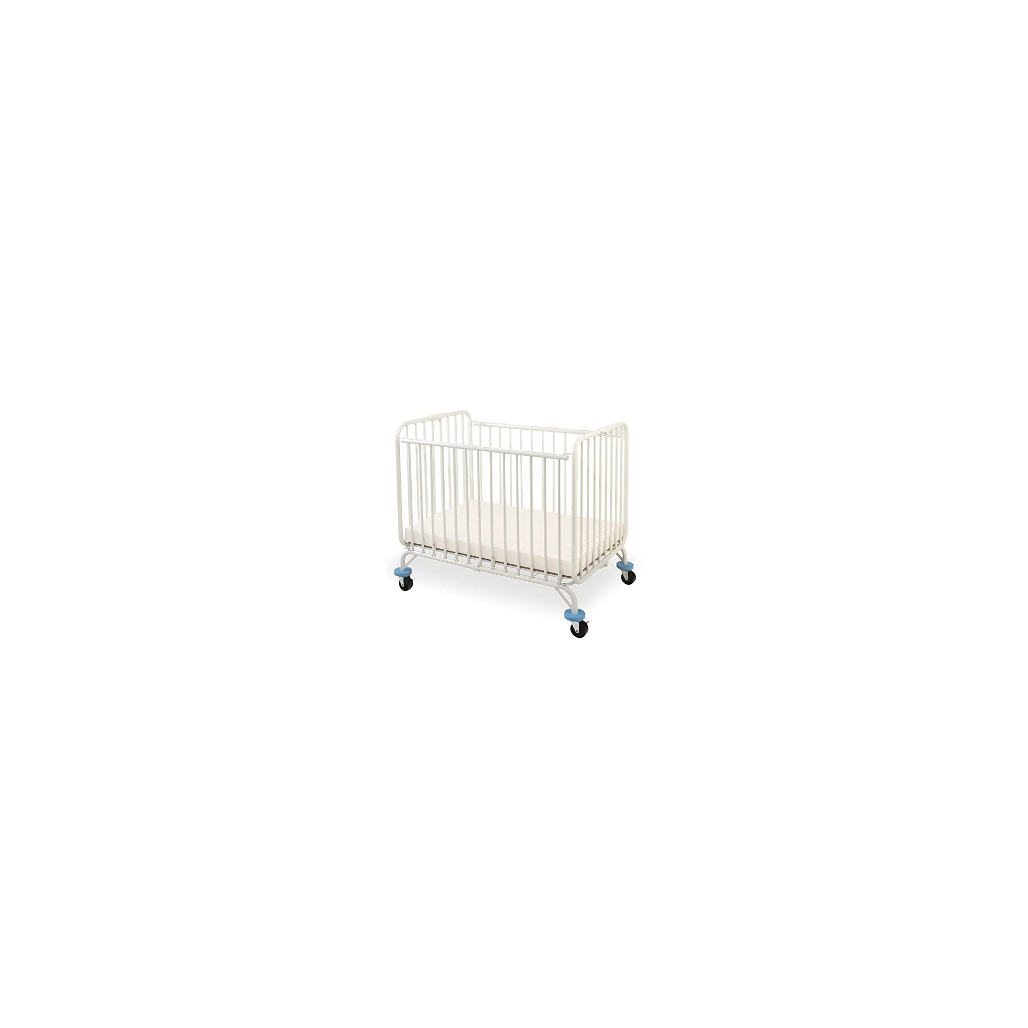 L.A. Baby Deluxe Holiday Mini/Portable Folding Metal Crib, White