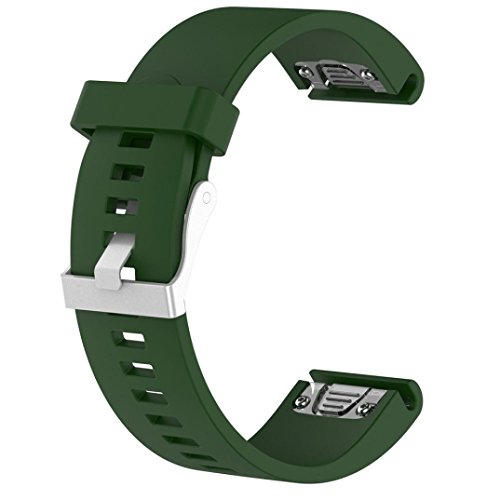 Sinwo Personalize Replacement Silicagel Quick Install Band Strap For Garmin Fenix 5S GPS Watch (Army Green, Band Wide: 20MM)