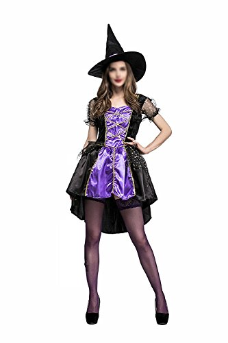 Hihihappy Fashion Women Ladies Halloween Cosplay Tail Witch Suit Costume Ghost Make Up Party Dress as pictureMedium Plus]()