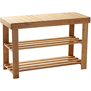 Shoe Rack Bamboo Shoe Bench 2 Tier Seat Shoe Shelf Holder Storage Organizer  For Closet