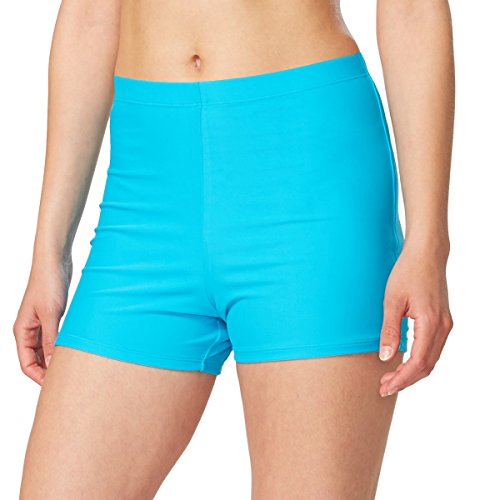 Boy Cut Swimwear - Baleaf Women's Basic High Waisted Boy Short Swim Bikini Tankini Bottom with Liner Blue Size L