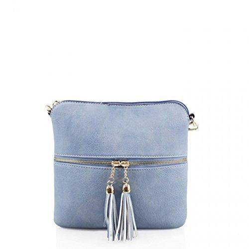 LeahWard Damen Kleine Faux Leder Quaste Kreuz Körper Handtaschen Umhängetaschen für Frauen CW9118 (Blasses Rosa Große Tasche) Hellblau Kleine Tasche