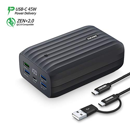 Zendure X6 USB-C Hub Portable Charger 20000mAh, 45W PD & QC 3.0 Power Bank with LED Display, 5 USB...