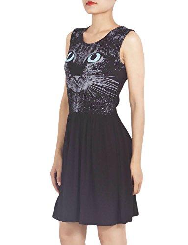 iB-iP Womens Cat Face A-Line Mid-Thigh Dress, Size: L, Black
