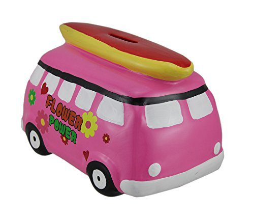 Zeckos Bright Pink Flower Power Beach Van Coin Bank