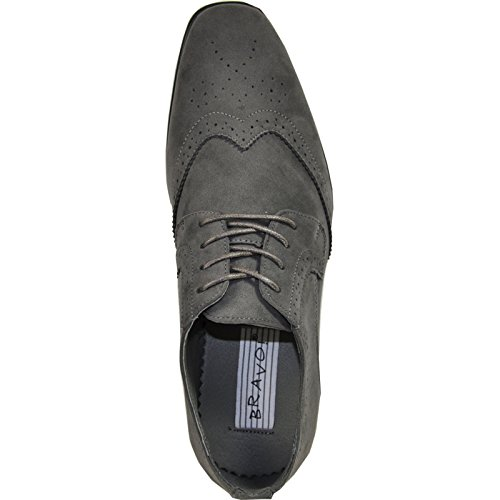 Bravo Men Dress Shoe King-3 Classic In Finta Pelle Scamosciata Oxford Con Fodera In Pelle Grigia