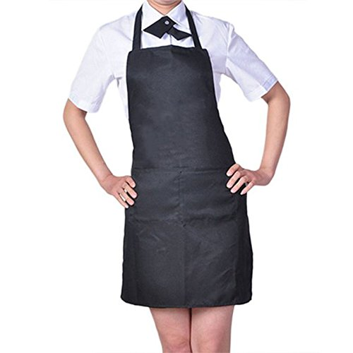 Womens Mens Solid Cooking Chef Kitchen Restaurant Bib Apron Dress with 2 Pockets (Color: Black) N@N