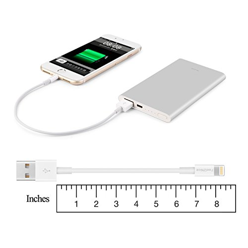Feel2Nice Short Lightning Cable 10 pack 7-Inch Iphone Cord Data Sync USB Portable fast charge for iPhone X 8/8 Plus/7/7 plus/6s/6s plus/6/6 plus 5/5s/5c/Multi-Port Charging Station,White by Feel2Nice (Image #6)'