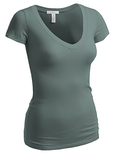 Sage V-neck Shirt (Emmalise Women's Plain Short Sleeve V Neck T Shirts - D Sage, M)