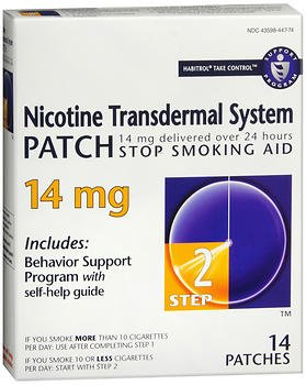 Habitrol Nicotine Transdermal System Step 2, 14 mg Stop Smoking Aid - 14 each, Pack of 6