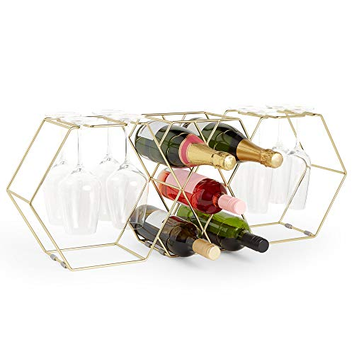VonShef 5 Bottle Wine Rack & Glass Holder -8 Long Stemmed Glasses - Brushed Gold Stainless Steel Wire - Freestanding Organiser/Holder - Ideal for Red/White Wine- Gift for Birthday, Christmas, Wedding (Wine Bottle Holder Wine Glass)