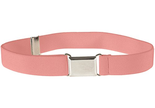 [Kids Elastic Adjustable Strech Belt With Silver Square Buckle - Peach] (Belt Peach)