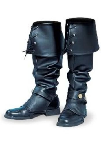 Marketworldcup MENS BOOTS SHOES SPATS TOPS COVERS PIRATE COLONIAL RENAISSANCE COSTUME BLACK ()