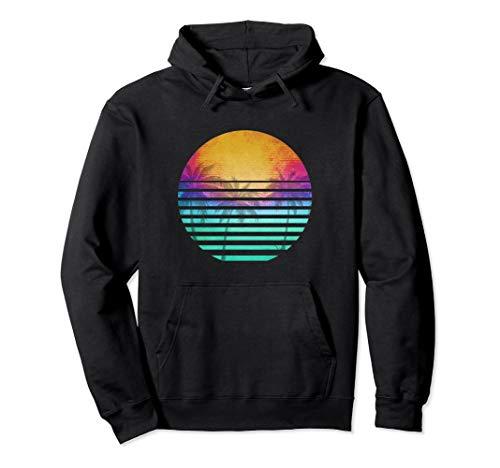 Unisex Vintage 80's beach sunset retro hoodie XL Black