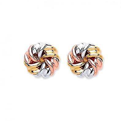9ct 3 Coloured Rose White and Yellow Gold Tight Knot Stud Earrings   Amazon.co.uk  Jewellery 2c488525e530