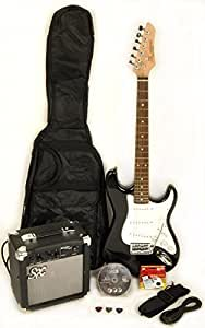 sx rst black full size electric guitar package w amp carry bag strap and. Black Bedroom Furniture Sets. Home Design Ideas
