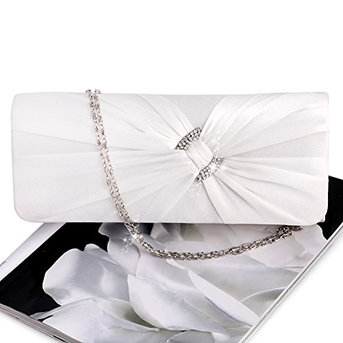 Women Clutch Red Chain Bling Rhinestone Bridal Evening White Bag Purse Handbag Shoulder Shoresu Zn8ptU6qw