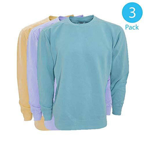 Comfort Colors by Gildan Long Sleeve Crew Neck Sweater Unisex Adult Light 3-Pack, ()