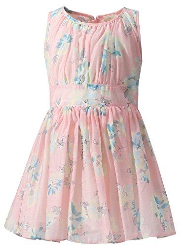 Pretty Girls Pink Chambray Lace Trim Flare Dress New Kids Sleeveless 3-11 years