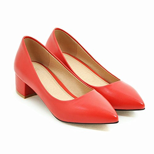 Latasa Womens Solid Color Pointed-toe Mid Heel Dress Pumps Red gkSoLq2