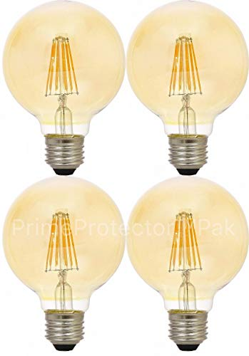 - (4 Pack) Sylvania 79601 Vintage LED Light Bulb, 40 Watt G25 Round 3 Inch Globe E26 Medium Base, Amber Glass Edison Filament Antique Style, 40W Warm Amber Color - Indoor Outdoor Non Dimmable