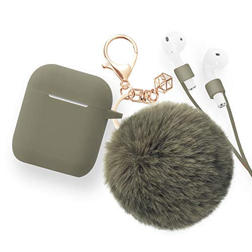 Airpods Case - BlUEWIND Drop Proof Air Pods Protective Pom Pom Keychain Case Cover Silicone Skin for Apple Airpods 2 & 1 Charging Case, Cute Fur Ball Airpods Keychain/Strap (Olive)
