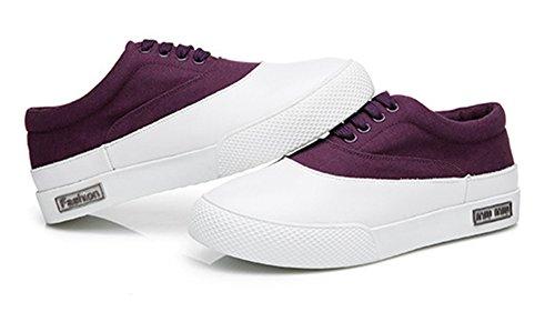 Aisun Womens Casual Ronde Neus Lage Top Dikke Zool Slip Op Plat Platform Mode Sneakers Schoenen Donker Paars