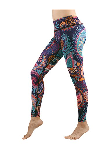 DOVPOD Printed Yoga Pants High Waist Fitness Workout Leggings Tommy Control Capris Women
