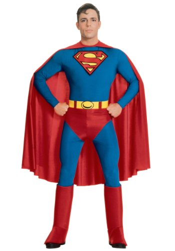 [Rubies Mens Superman Deluxe Marvel Superhero Theme Party Costume, X-Large (44-46)] (Plus Size Deluxe Superman Costumes)
