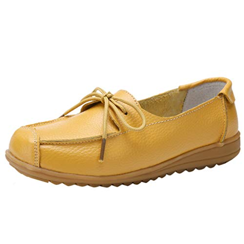 TIFENNY Women's Low-Top Flat Shoes Fashion Solid Color Bow Lace-Up Casual Shoes Soft Bottom Nurse Shoes Lazy Shoe Sandals Yellow ()