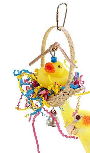 Bonka Bird Toys 1660 Ducky Basket Bird Toy Parrot Cage Craft Cages Cockatiel Lovebird Parakeet Angel Wings Crinkle Shred Parakeets Budgie (Basket Bird)