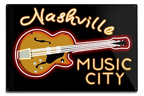 (Lilyanaen New Great Nashville Tennessee Neon Guitar Sign Aluminum Wall Sign Wall Decor Ready to Hang for Outdoor & Indoor 12 x 18 in)