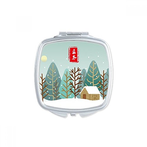 Circular Winter Begins Twenty Four Solar Term Square Compact Makeup Mirror Portable Cute Hand Pocket Mirrors Gift by DIYthinker