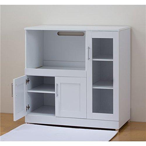 たっぷり奥行 キッチン収納シリーズ レンジボード ホワイト B07BFY4DXFホワイト レンジボード