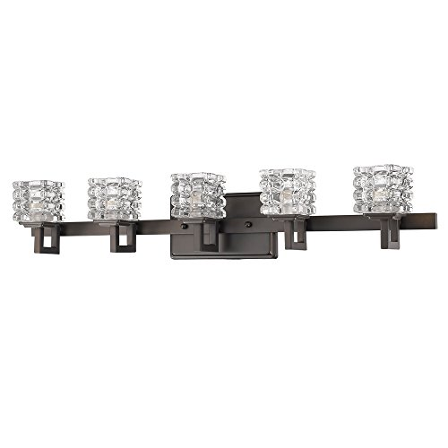 Acclaim Lighting IN41317ORB Coralie Indoor 5-Light Bathroom Sconce with Crystal Glass Shades, Oil Rubbed Bronze by Acclaim Lighting