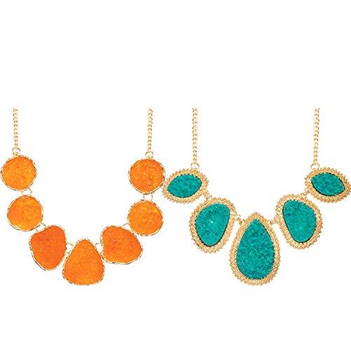 - meekoo 2 Pieces Women's Drusy Stone Bead Statement Necklace Chunky Choker Sparkly Jewelry (Green, Orange)