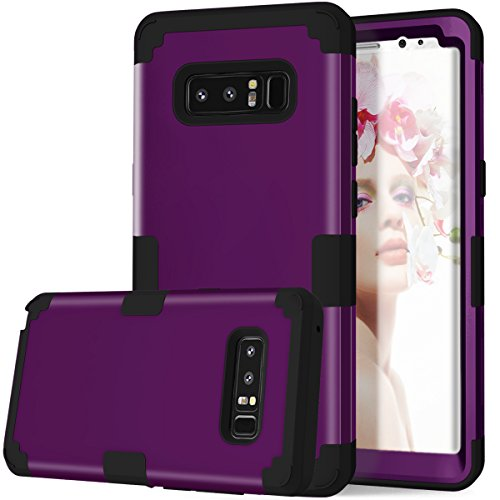 Galaxy Note 8 Case, KAMII 3in1 [Shockproof] Drop-Protection Hard PC Soft Silicone Combo Hybrid Impact Defender Heavy Duty Full-Body Protective Case Cover for Samsung Galaxy Note 8 (Purple+Black)