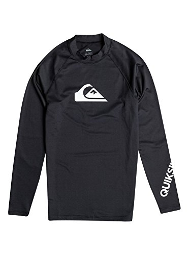 Quiksilver Mens All Time Long Sleeve Surf Tee Rashguard, Black, Large