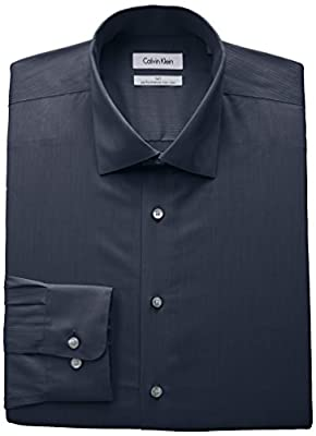 Calvin Klein Men's Big and Tall Non Iron Tall Fit Herringbone Spread Collar Dress Shirt