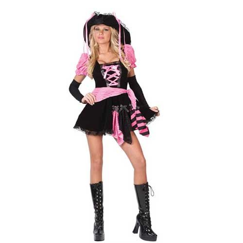 Pink Punk Pirate Adult Costume - (Pink Punk Pirate)