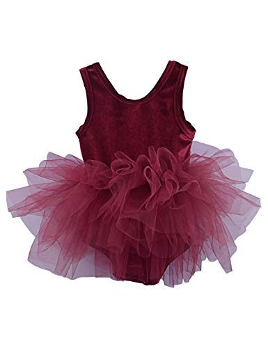Kid Girls Camisole Ballet Tutu Dress Velvet Ballerina Costume Gymnastics Dance Leotards Wine Red 5-6t