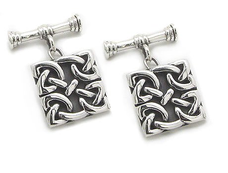 Square Celtic Knot Chain and Bar Cufflinks Sterling Silver Cuff Links (Silver Cufflinks Celtic Knot)