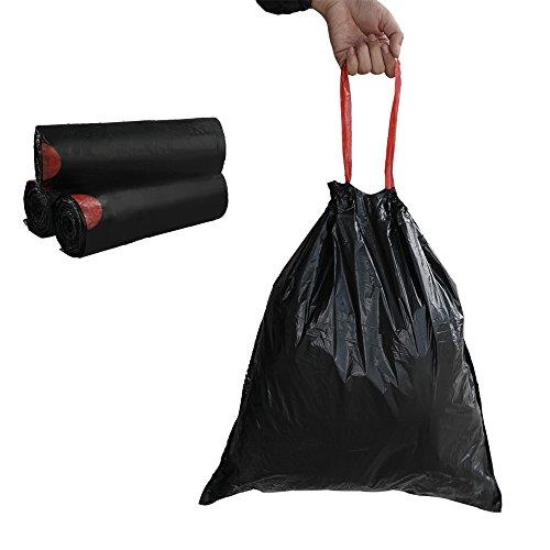 Begale 5 Gallon Drawstring Trash Bags, Black (115 Counts/3 Rolls)