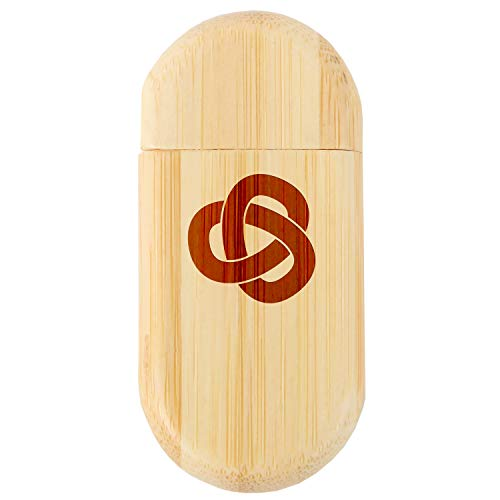 Trefoil Knot 8Gb Bamboo USB Flash Drive with Rounded Corners - Wood Flash Drive with Laser Engraving - 8Gb USB Gift for All Occasions