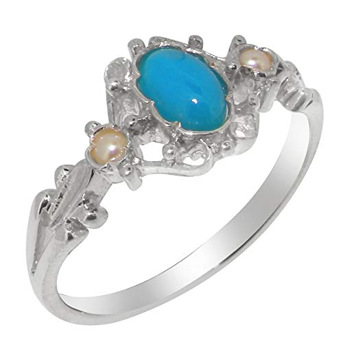 925 Sterling Silver Natural Turquoise & Cultured Pearl Womens Anniversary Ring - Size 9