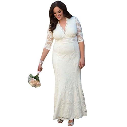 venta caliente 2017 Nuevo Blanco Encaje Plus Tamaño vestido de ...