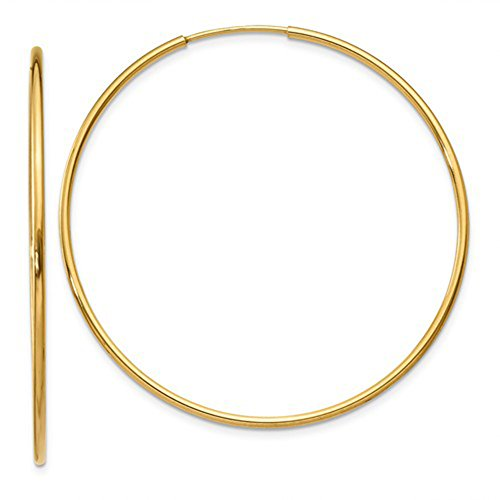 14k Yellow Gold Continuous Endless Hoop Earrings, 1.25mm Tube ()