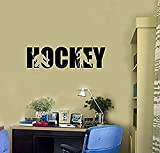 HomeDecorStore Hockey Players Vinyl Wall Decal Word Lettering Sports Child's Room Stickers Mural HDS1747