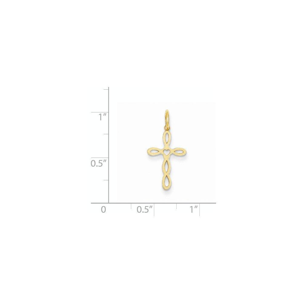 14K Yellow Gold Fancy Designed Cross Charm Pendant