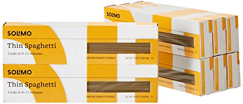 Amazon Brand - Solimo Pasta, Thin Spaghetti, 16oz (Pack of 8)